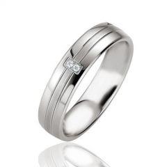 Alliance Argent Platiné et Diamant 5mm