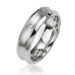 Alliance Diamant Argent Platiné 6mm
