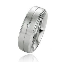 Alliance Diamant Argent Platiné 7mm
