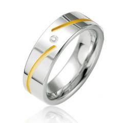 Alliance Diamant Argent Platiné et Plaqué Or 6.5mm