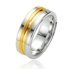 Alliance Diamant Argent Platiné et Plaqué Or 7mm