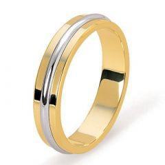 Alliance Or jaune avec liseret demi jonc en Or blanc  - 4.5mm