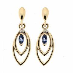 B.O. Pendantes Tanzanite et Diamant en Or Jaune 375