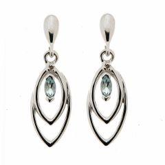 B.O. Pendantes Topaze Bleue et Diamant en Or Blanc 375