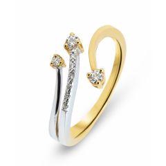 Bague 2 Ors 750  Diamant  3 Branches 0.12 carat