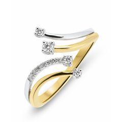Bague 2 Ors 750  Diamant  4 branches 0.12 carat