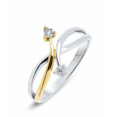 Bague 2 Ors Diamant (0.02ct)
