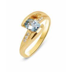 Bague Aigue Marine Ovale 7x5mm  et Diamant Or Jaune