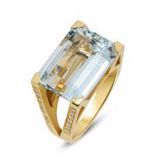 Bague Aigue Marine RPC 16x12mm et Diamant