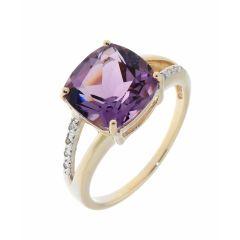 Bague Améthyste Coussin 10mm et Diamant Or Jaune 375