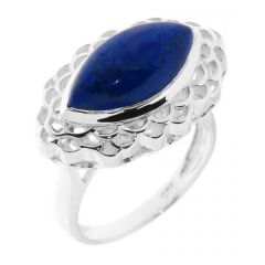 Bague Argent Lapis Lazuli Navette 16x8mm