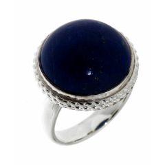 Bague Argent Lapis Lazuli Rond 15mm