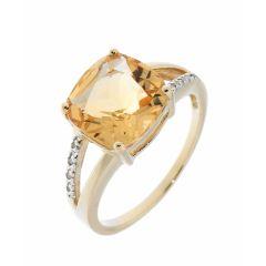 Bague Citrine Coussin 10mm et Diamant Or Jaune 375