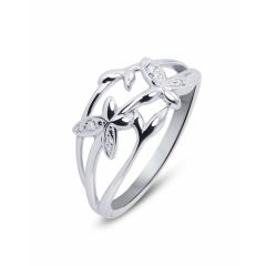 Bague Diamant Motifs fleurs en Or Blanc (0.028ct)