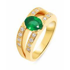 Bague Emeraude Ovale 8x6mm et Diamant