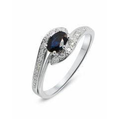 Bague en Or Blanc 375 (9 carats) Saphir et Diamant