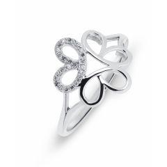 Bague Fleur Or Blanc 750  Diamant  0.07 carat