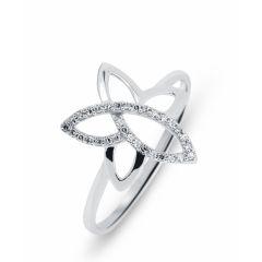 Bague Fleur Or Blanc 750  Diamant  0.09 carat