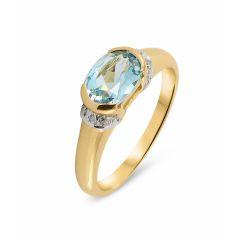 Bague Jonc Or Jaune 375 Topaze bleue traitée Ovale 8x6mm et Diamant