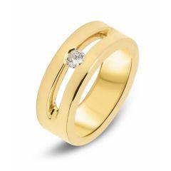 Bague Large Or Jaune  Diamant (0.165ct)