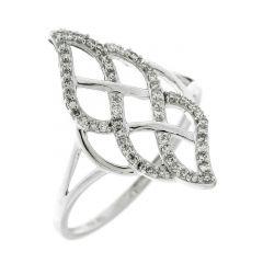 Bague Marquise Or Blanc 750  Diamant  0.16 carat