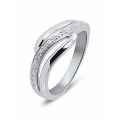 Bague Ondulée Or Blanc Diamant