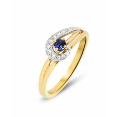 Bague Or 2 tons Saphir Rond 3mm  et Diamants