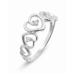 Bague Or Blanc 375 (9 carats) motifs coeurs et Diamant