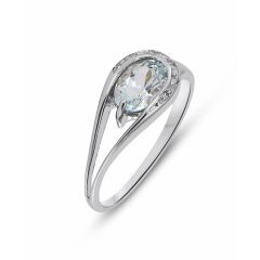 Bague Or Blanc 375 Aigue Marine Ovale 7x5mm et Diamant