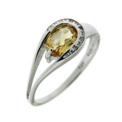 Bague Or Blanc 375 Citrine Ovale 7x5mm et Diamant