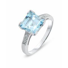 Bague Or Blanc 375 Topaze Bleue Carrée et Diamant