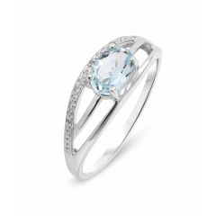 Bague Or Blanc 375 Topaze Bleue Ovale 7x5mm et Diamant