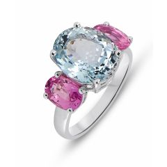 Bague Or Blanc 750 Aigue Marine et Saphir rose