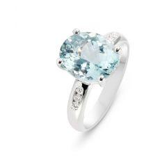 Bague Or blanc 750 Aigue Marine Ovale 11x9mm et Diamant