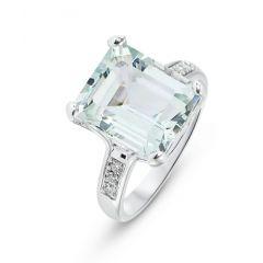 Bague Or Blanc 750 Aigue Marine Rectangulaire et Diamant