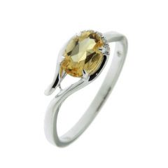 Bague Or Blanc 750 Citrine Ovale 7x5mm et Diamant