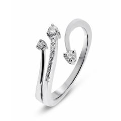Bague Or Blanc 750  Diamant 3 branches 0.12 carat