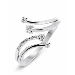 Bague Or Blanc 750  Diamant  4 branches 0.12 carat