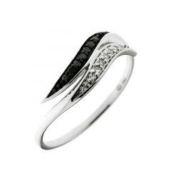 Bague Or  Blanc 750 Diamant Blanc & Noir 0.08 carat