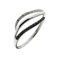 Bague Or  Blanc 750 Diamant Blanc & Noir 0.13 carat