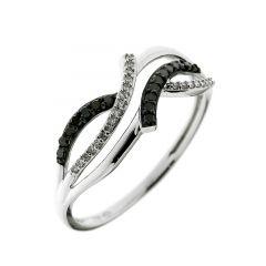 Bague Or  Blanc 750 Diamant Blanc & Noir 0.14 carat