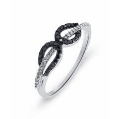 Bague Or  Blanc 750 Diamant Blanc & Noir 0.16 carat
