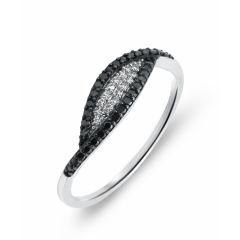 Bague Or  Blanc 750 Diamant Blanc & Noir 0.21 carat