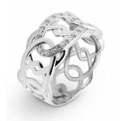Bague Or Blanc 750 Diamant  Motifs entrelacés