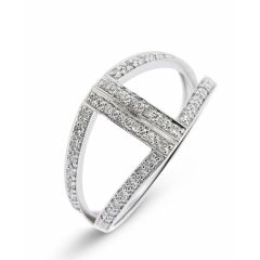 Bague Or Blanc 750 Diamant Pavage