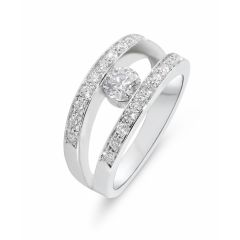 Bague Or Blanc 750 Diamant