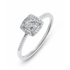 Bague Or Blanc 750 et Pavage Diamant