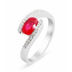 Bague Or Blanc 750 Rubis Ovale 7x5mm et Diamant