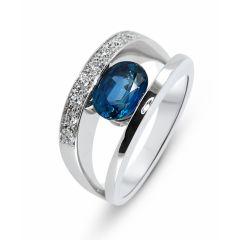 1d201b5f42b Bague Or Blanc 750 Saphir Ceylan 8x6mm et Diamant