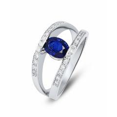 Bague Or Blanc 750 Saphir  Ovale 7x5mm et Diamant